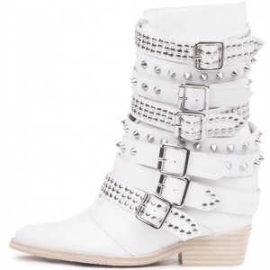 White Rivets Buckle Studs Shoes Block Heel Almond Toe Ankle Boots
