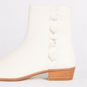 White Round Toe Block Heel Boots Ruffle Ankle Booties with Zipper