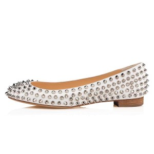 White Round Toe Rivets Comfortable Flats