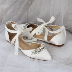 White Satin Bow Rhinestone wedding Flats