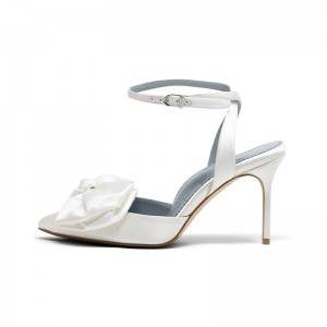 White Satin Bow Slingback Heels Pointed Toe Ankle Strap Sandals