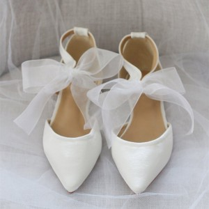 White Satin Bow wedding Flats