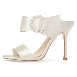 Ivory Wedding Shoes Satin Open Toe Rhinestone Buckle Bow Sandals