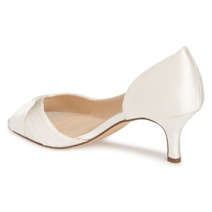 White Satin Peep Toe Kitten Heel D'orsay Wedding Shoes