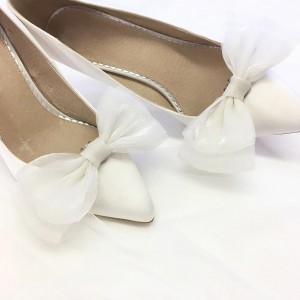 White Satin Bridal Heels Rhinestone Bow Heels Stilettos Pumps