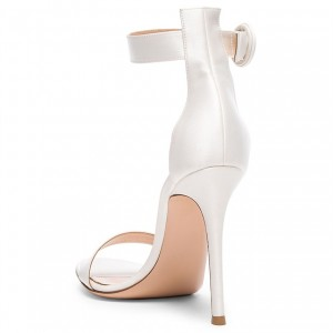White Satin Wedding Heels Stilettos Ankle Strap Sandals