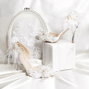 White Sequined Jeweled Bridal Heels Stiletto Heel Wedding Pumps