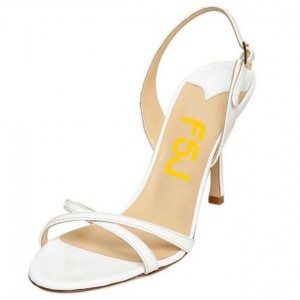 White Open Toe Slingback Heels Sandals for Women