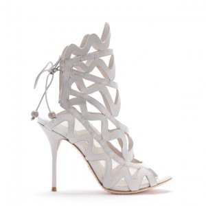 Women's White Slingback Heels Hollow out Caged Sandals Stiletto Heels