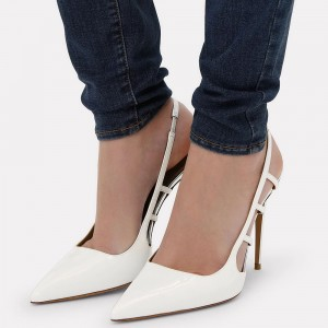 White Slingback Heels Pointy Toe Pumps