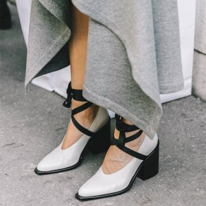 White Square Toe Chunky Heels Strappy Pumps
