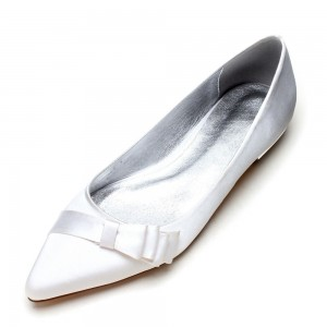 White Satin Bow Pointy Toe Flats for Women