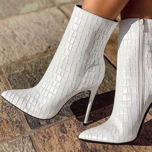 White Stiletto Boots Ankle Boots