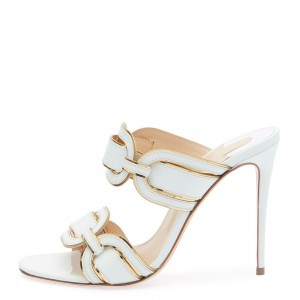 White Stiletto Heel Mule Heels for Women