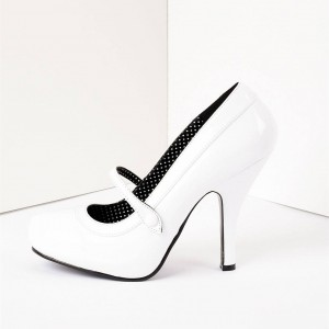 White Stiletto Heels Round Toe Mary Jane Heels Vintage Shoes