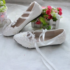 White Wedding Flats Lace Strappy Bridal Shoes Size US 4-15