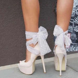 Ivory Strappy Shoes Stiletto Heel Peep Toe Pumps with Platform