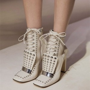 White Studs Lace up Boots Square Toe Chunky Heel Ankle Booties