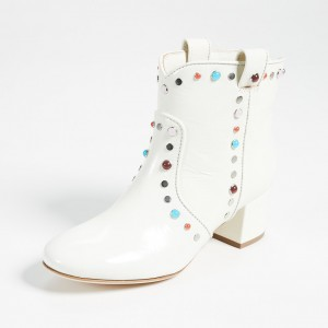 White Studs Low Heel Cowgirl Boots Colors Rhinestone Ankle Booties