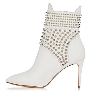 White Studs Shoes Stiletto Heel Ankle Boots