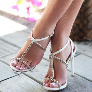 White Studs Stiletto Heel T Strap Sandals Open Toe Slingback Sandals