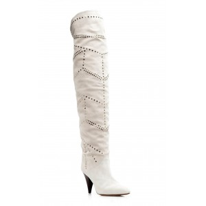 White Suede Slouch Boots Cone Heel Knee High Boots