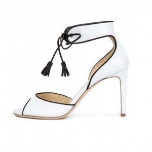 White Tassel Ankle Strap Heels Stiletto Heel Pumps