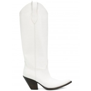 White Vegan Leather Cowgirl Boots Chunky Heel Mid Calf Boots