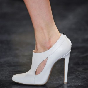 White Vegan Leather Stiletto Boots Cut out Ankle Booties for Women