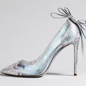 White Vintage Bridal Heels Pointed Toe Lace and Rhinestone Pumps