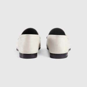 White Vintage Buckle Loafers for Women