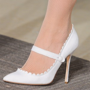 White Wave Suede Mary Jane Heels Stiletto Heel Pumps