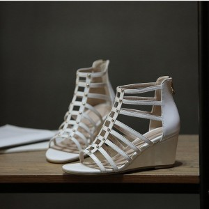 White Wedge Sandals Open Toe Hollow out Ankle Strap Sandals with Studs