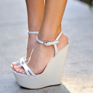 White Wedge Sandals Open Toe Platform Slingback Sandals
