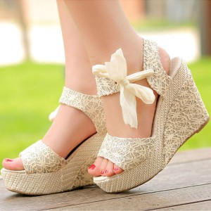 Beige Wedges Platform Sandals Lace Peep Toe Slingback Wedding Sandals