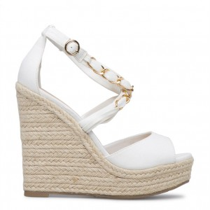 White Wedge Sandals Peep Toe Ankle Strap Sandals