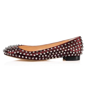 Wine Red Round Toe Rivets Comfortable Flats