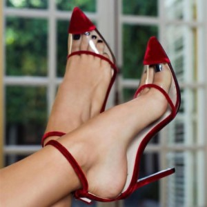 Wine Red Velvet Clear PVC Ankle Strap Heels Pumps