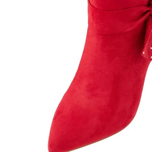 Women's 3 Inch Heels Red Stiletto Heels Pointy Toe Ankle Booties