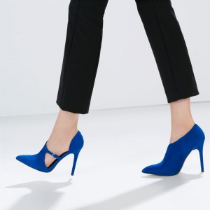 4 Inch Heels Royal Blue Buckle Navy Pointy Toe Stiletto Heels Pumps