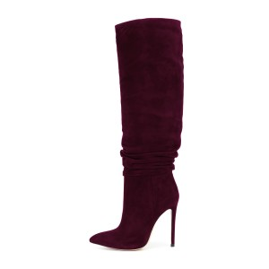 Women's 4 Inch Heels Red Knee-high Slouch Suede Stiletto Boots