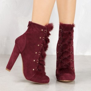 Women's Amaranth Red Lace Up Fur Boots Almond Toe Suede Ankle Boots