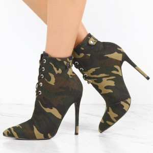 Women's Army Green Lace Up Boots Pointy Toe Stiletto Heels Ankle Boots