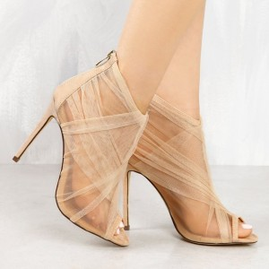 Women's Beige Mesh Stiletto Heels Fashion Peep Toe Summer Ankle Boots