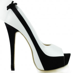 Women's Black and Bow Stiletto Heel Platform Pumps Peep Toe Heels