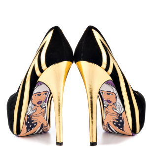 Women's Black and Gold Heels Dress Shoes Stiletto Heels Platform Pumps