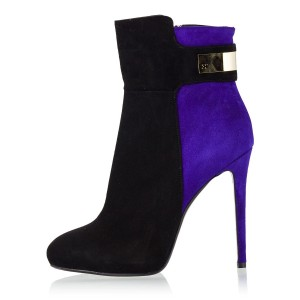 Black and Purple Two Tone Suede Boots Stiletto Heel Fashion Booties