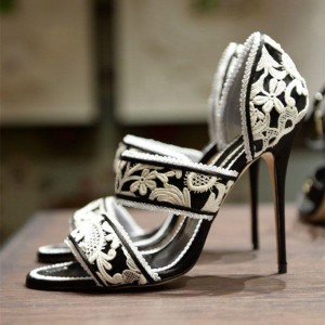 Women's Black and White Embroidered Floral Vintage Heels Sandals