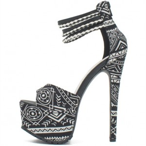 Women's Black and White Heels Floral Peep Toe Ankle Strap Sandals