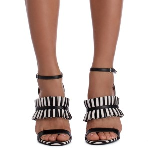 Women's Black and White Heels Open Toe Ruffle Ankle Strap Sandals